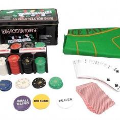 Set Poker Texas Hold'em 200, jetoane si carti, cutie metalica, accesorii