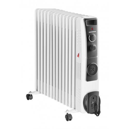 Calorifer electric cu ulei Heinner, 2500 W, 13 elemenți, ventilator 400W, protecție supraîncălzire, termostat reglabil, alb