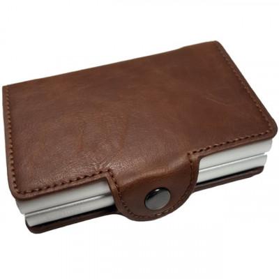 Portofel unisex, port card dublu iUni P3, RFID, 2 Compartimente 6 carduri, Maro inchis foto