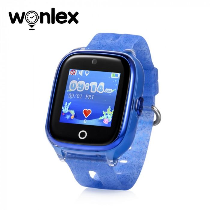Ceas Smartwatch Pentru Copii Wonlex KT01 cu Functie Telefon, Localizare GPS, Camera, Pedometru, SOS, IP67 - Albastru