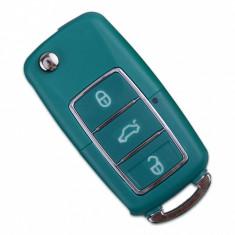 Carcasa cheie auto briceag cu 3 butoane, culoare Turcoaz, compatibila Volkswagen VW-185 AllCars