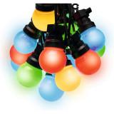 Ghirlanda decorativa, 10 globuri LED colorate, lumina statica, interior/exterior, 5 m