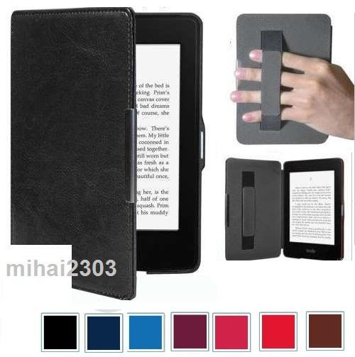 Husa Kindle Paperwhite 1, 2, 3 (Gen. 5, 6, 7) | Maner+Piele+Magnet | Folie+carti