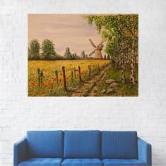 Tablou Canvas, Peisaj Moara, Camp cu Maci - 40 x 50 cm
