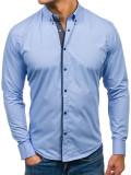 Cumpara ieftin Cămașă elegantă pentru bărbat cu mâneca lungă albastru-deschis Bolf 7724