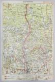 HARTA ZONEI RAMNICU - VALCEA - DRAGASANI - CURTEA - DE - ARGES , LITOGRAFIE de M.D. MOLDOVEANU , 1936
