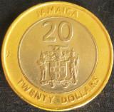 Moneda exotica - bimetal 20 DOLARI - JAMAICA, anul 2001 *cod 2098, America de Nord