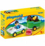 Playmobil 1.2.3 - Masina Cu Remorca Si Calut