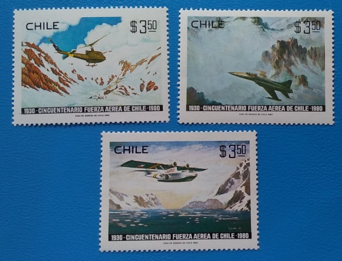 CHILE--Aviatia-Militara--Set 3 val-MNH