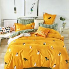 Lenjerie de pat dublă, bumbac de finet, 6 piese, model Jungle
