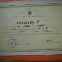 HOPCT DIPLOMA PREMIUL III SCOLAR-1968-1969 NR 88 RSR MINISTERUL INVATAMINTULUI