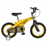 Bicicleta W1439D 14 frana C-Brake cu roti ajutatoare 3-5 ani galbennegru