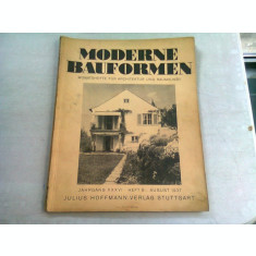 MODERN BAUFORMEN NR.8/1937 (REVISTA LUNARA DE ARHITECTURA, IN LIMBA GERMANA)