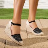 Sandale dama cu platforma negre Canifa