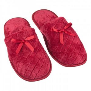 Papuci imblaniti de dama, model capitonat cu fundita, marime 40-41, bordeaux