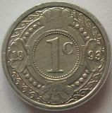 Moneda exotica 1 CENT - ANTILELE OLANDEZE (Caraibe), anul 1993 * cod 977, America Centrala si de Sud, Aluminiu