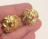 LICHIDARE--- Cercei FLOARE eleganti clips- placati cu aur galben 18K