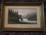 Tablou,pictura germana in ulei pe lemn,peisaj montan, Peisaje, Altul