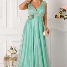 Rochie LaDonna verde mint lunga cu floare 3D in talie