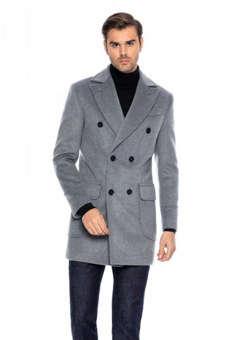 Palton barbati gri la doua randuri de nasturi B171