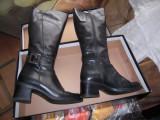 Cizme de dama din piele naturala de  culoare neagra, masura 39, toc de 5 cm, 36, Negru