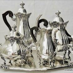SERVICIU DE CAFEA SI CEAI DIN ARGINT MASIV 800 STILUL ROCOCO DIN ANII 1900