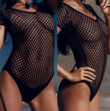 Lady Lust Lingerie Costum de Baie Teddy Mesh Monokini Transparent, Negru