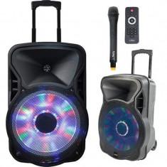 Boxa portabila iluminata LED, 15 inch, maner telescopic, microfon, USB, FM, 400 W