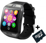 Smartwatch cu telefon iUni Q18, Camera, BT, 1,5 inch, Negru + Card MicroSD 4GB Cadou