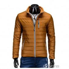 Jacheta pentru barbati, camel, cu fermoar, model slim fit - c211