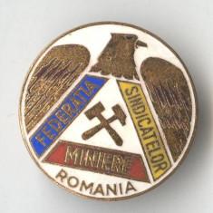 Insigna veche Federatia Sindicatelor Miniere din Romania