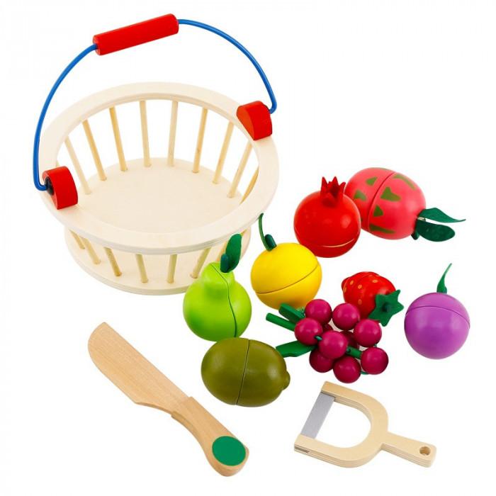 Set cos si 12 fructe de feliat din lemn