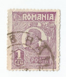 *Romania, LP 72/1929, Ferdinand - uzuale, 1 leu violet, eroare 1, oblit., Stampilat