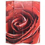 Paravan de cameră pliabil, 160 x 170 cm, trandafir roșu, vidaXL
