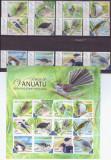 40-VANUATU 2012-Pasari-Serie completa de 12 timbre nestampilate si bloc MNH, Fauna, Nestampilat