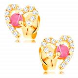 Cercei din aur galben de 14K, contur de inimă decorat cu zirconii transparente și un rubin