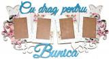Rama cadou cu 4 fotografii, Cu drag pentru bunica, alb cu flori multicolore – OMIS207