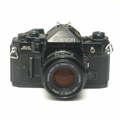 Canon A-1 cu obiectiv Canon 50mm f1.8