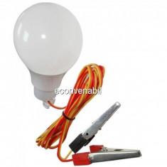 Bec LED 12W 12V Cablu cu Clesti Baterie Auto Glob Mat