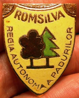 I.814 INSIGNA PIN ROMANIA SILVICULTURA ROMSILVA REGIA AUTONOMA A PADURILOR email foto