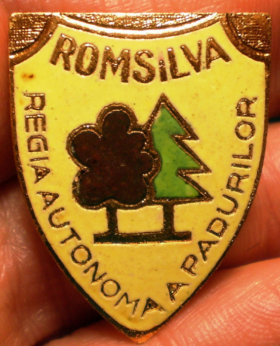I.814 INSIGNA PIN ROMANIA SILVICULTURA ROMSILVA REGIA AUTONOMA A PADURILOR email