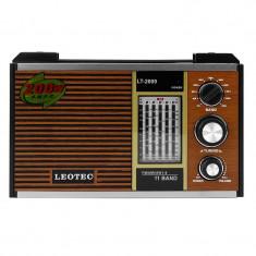 Radio retro, 11 benzi frecventa, Jack 3.5 mm, LED, control volum, Leotec