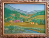 Tablou pictat PEISAJ DE VARA, dimensiuni 30/40 cm, Peisaje, Acrilic, Realism