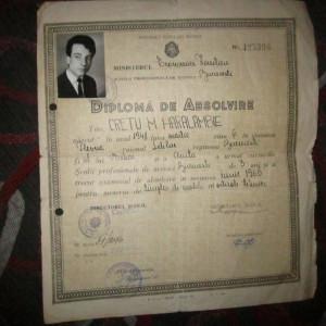 diploma de calificare tamplar an 1965 n 201
