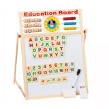 Tabla magnetica educativa pentru copii din lemn cu 5 functii 43x32cm, 4-6 ani, Unisex