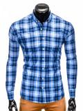 Camasa pentru barbati albastru cu model slim fit casual carouri cu guler k405