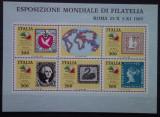 Timbre bloc Italia , expozitia mondiala de filatelie 1985