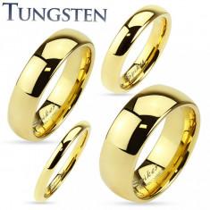 Inel din tungsten auriu, suprafaţă lucioasă şi netedă, 2 mm - Marime inel: 64