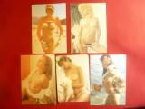 Lot 5 Calendare 1983 cu fotografii - Nuduri dim. = 9,5 x 6,6cm