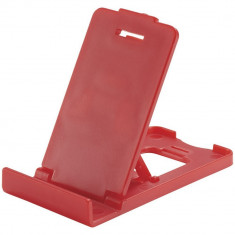 Suport telefon de birou pliabil, Everestus, STT117, plastic, rosu, laveta inclusa